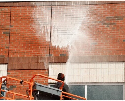 Exterior Commercial Building Cleaning Northern IL